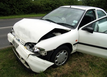 Car damaged from crash