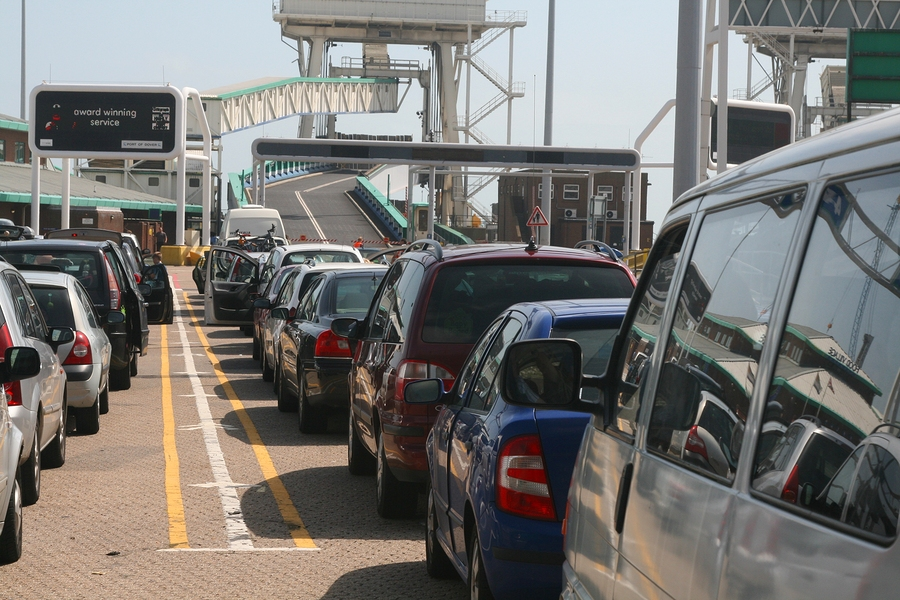 Cars boarding the ferry